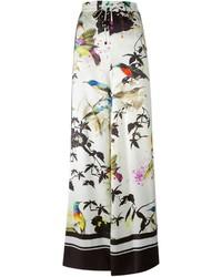 Pantalones anchos estampados blancos de Roberto Cavalli