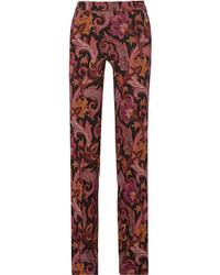Pantalones anchos estampados burdeos de Etro