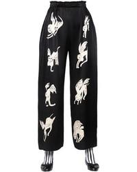 Pantalones anchos estampados en negro y blanco