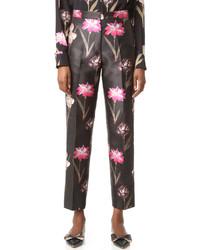 Pantalones con print de flores negros de Rochas
