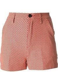 Pantalones cortos con estampado geométrico rojos