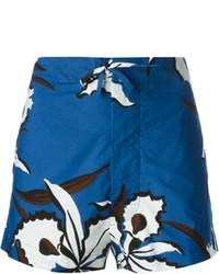 Pantalones cortos con print de flores azul marino de Marni