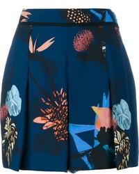 Pantalones cortos con print de flores azul marino de Proenza Schouler
