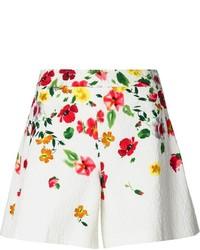 Pantalones cortos con print de flores blancos de Oscar de la Renta