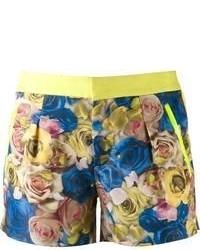 Pantalones cortos con print de flores en azul marino y amarillo de Ground Zero