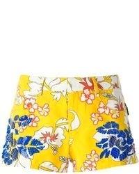 Pantalones cortos con print de flores en azul marino y amarillo de P.A.R.O.S.H.