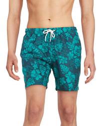 Pantalones cortos con print de flores en verde azulado