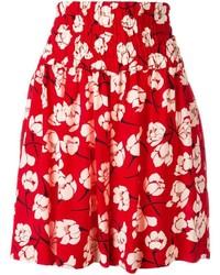 Pantalones cortos con print de flores rojos de Rochas