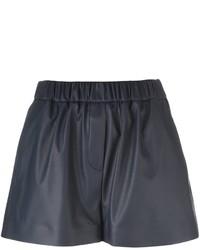 Pantalones cortos de cuero azul marino de MSGM