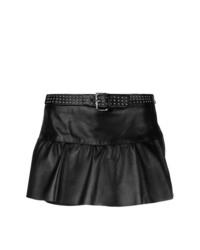 Pantalones cortos de cuero con tachuelas negros de RED Valentino