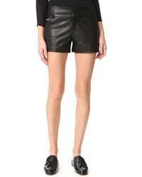 Pantalones cortos de cuero negros de Alice + Olivia