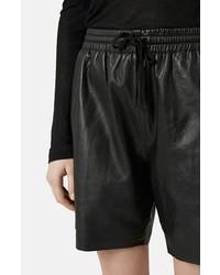 Pantalones cortos de cuero negros de Topshop
