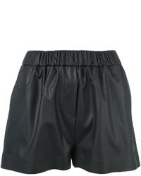 Pantalones cortos de cuero negros de MSGM