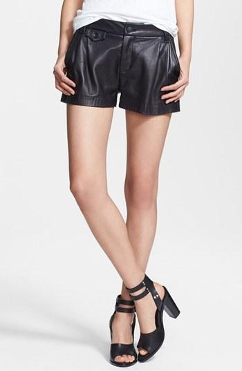 Pantalones cortos de cuero negros de Rag & Bone