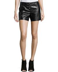 Pantalones cortos de cuero negros de Versace