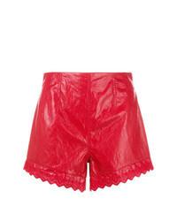 Pantalones cortos de cuero rojos