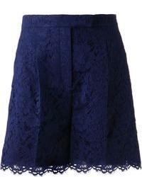 Pantalones cortos de encaje azul marino de Valentino