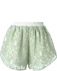 Pantalones cortos de encaje en verde menta de Carven