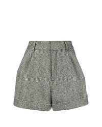 Pantalones Cortos de Lana a Cuadros Grises de Saint Laurent