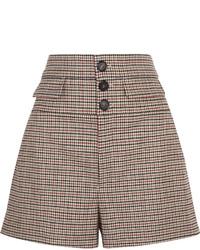 Pantalones cortos de lana a cuadros marrónes de Chloé