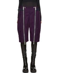 Pantalones Cortos de Lana Morado Oscuro de Sacai