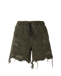 Pantalones cortos de leopardo verde oliva de T by Alexander Wang