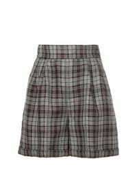Pantalones cortos de lino de tartán marrónes de CITYSHOP