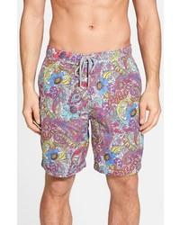 Pantalones cortos de paisley morado