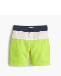 Pantalones cortos de rayas horizontales en amarillo verdoso de J.Crew