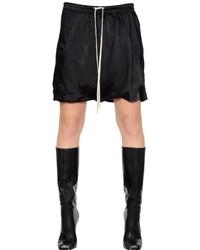 Pantalones cortos de satén negros de Rick Owens