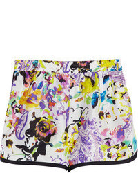 Pantalones cortos de seda con print de flores blancos de Etro