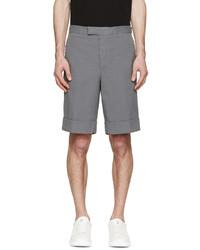 Pantalones cortos de seersucker grises de Moncler Gamme Bleu