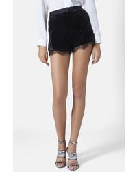 Pantalones cortos de terciopelo negros de Topshop