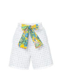 Pantalones cortos de tweed blancos de MSGM