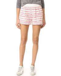 Pantalones cortos de tweed de rayas horizontales blancos de Moschino