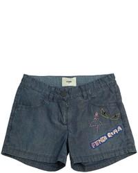 Pantalones cortos vaqueros bordados azules de Fendi