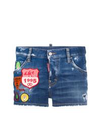 Pantalones cortos vaqueros con adornos azules de Dsquared2