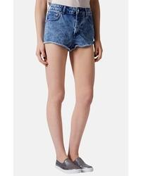 Pantalones Cortos Vaqueros con Lavado Ácido Azules de Topshop