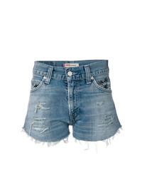 Pantalones cortos vaqueros desgastados azules de Chiara Ferragni