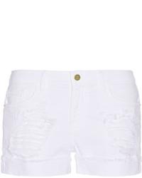 Pantalones cortos vaqueros desgastados blancos de Frame Denim