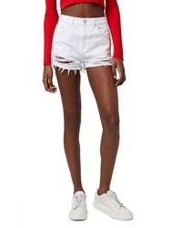 Pantalones cortos vaqueros desgastados blancos de Topshop