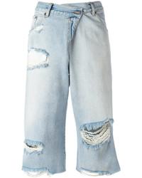 Pantalones Cortos Vaqueros Desgastados Celestes de MM6 MAISON MARGIELA