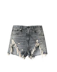 Pantalones cortos vaqueros desgastados en gris oscuro de R13