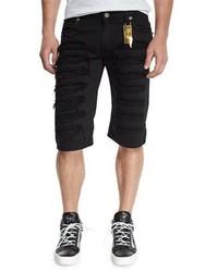 Pantalones cortos vaqueros desgastados negros