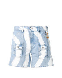 Pantalones cortos vaqueros efecto teñido anudado celestes de Ganni