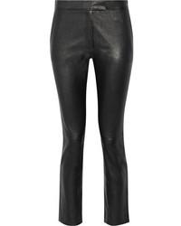 Pantalones de cuero negros de Joseph