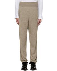 Pantalones de lana de punto marrón claro de Lanvin