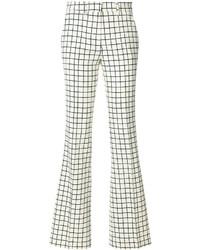 Pantalones de lana de tartán blancos de Etro