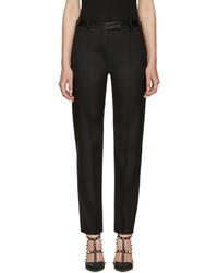 Pantalones de lana negros de Valentino