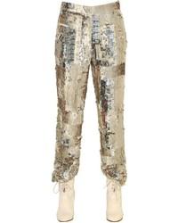 Pantalones de lentejuelas bordados dorados de Chloé